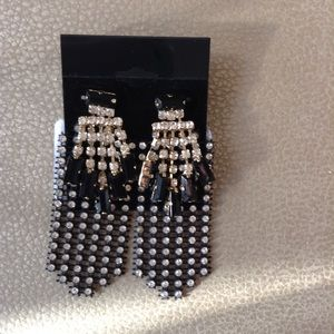 Jewelry - Silver Gold Black Rhinestone Fashion Earrings